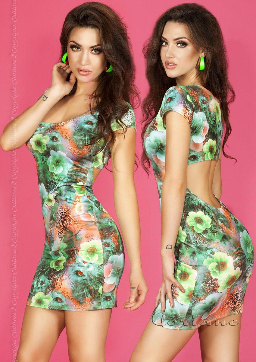 Chilirose Floral Blue Minidress With Back Opening Green