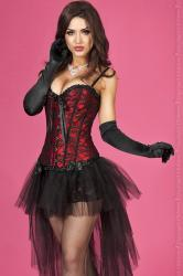 CHILIROSE: red bodice with black lace + thong.