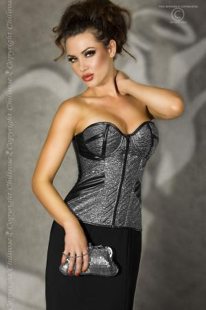 CHILIROSE: faux leather corset with bright silver fabric.