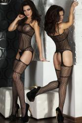 CHILIROSE: embroidered bodystocking with perforated fabric.
