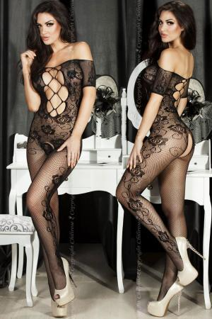 CHILIROSE: embroidery catsuit with large mesh inserts.