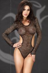 CHILIROSE: fishnet body open at the sides with long sleeves.
