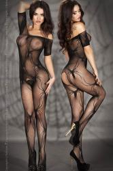 CHILIROSE: net bodystocking with spider design.
