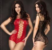 CHILIROSE: lace body with large mesh insert. Black - Red