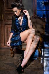 CHILIROSE: Diamond Line - Short robe + thong.