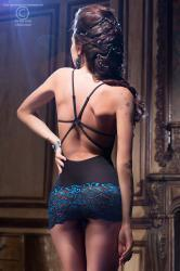 CHILIROSE: Diamond Line - Chemise lace/tulle bare back + string.