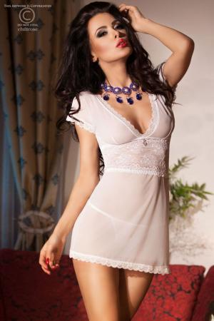 CHILIROSE: lace and tulle chemise with pendant. White