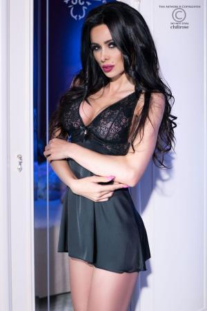 CHILIROSE: chemise in satin and lace with bow and pendant. Black