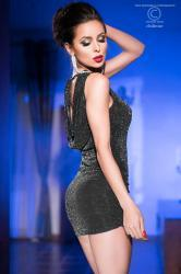 Black mini dress with silver lurex and drapery.