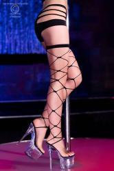 Chilirose - Wide mesh black stockings.