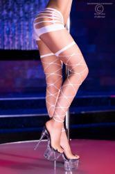 Chilirose - Wide mesh neon white stockings.
