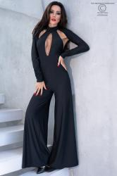 Black jumpsuit with long sleeves.