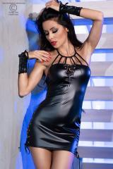Black mini dress with lacing, gloves and thong.