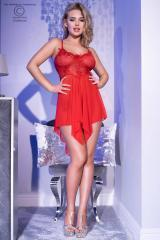Red babydoll in tulle and lace with crossed straps.