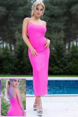Neon Pink Long Dress with rhinestone.