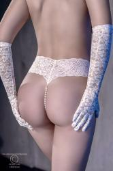 Lace thong with natural pearls + mini vibrator. White