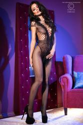 CHILIROSE: fishnet catsuit  with body design.