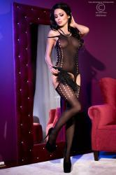 CHILIROSE: bodystocking aperto con asolature.